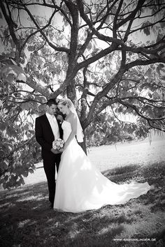 Brautpaar unterm Baum; Mehr Hochzeitsfotos unter www.bastianlinder.de