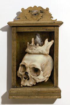 Jean Labourdette - Memento Mori oil on wood and antique wooden box 46cm x 27cm x 11cm 2013