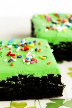 Green Frosted Chocolate Fudge Brownies