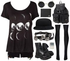 Moon phases shirt and boots goth outfit Fashion Mode, Dark Fashion, Grunge Fashion, Gothic Fashion, Womens Fashion, Bohemian Fashion, Gothic Outfits, Emo Outfits, Grunge Outfits