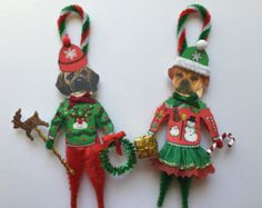 Puggle CHRISTMAS ornaments UGLY SWEATER dog ornaments vintage style chenille ornaments set of 2
