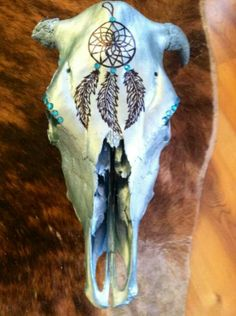 Decorated cow skull, metallic turquoise, crystals, dream catcher!