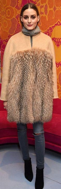 Who made Olivia Palermo's tan coat?