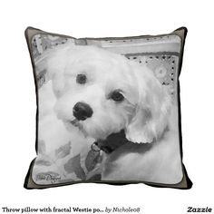 Throw pillow with fractal Westie poodle art