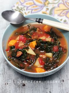 Spicy kale soup with sausage, sweet potatoes and gold potatoes. Delicious!  Used GF chicken apple sausages.