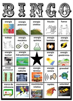 BINGO de la ENERGÍA - Energy Bingo Game - Ciencias Físicas, Physical Science, Dual Language, Bilingual, Bilingüe, 4th Grade, Cuarto Grado, Energía Potencial, Potential Energy, Energía Cinética, Kinetic Energy, Science Stations, Word Work, Vocabulario, Vocabulary