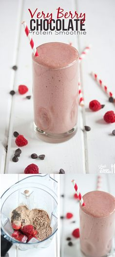 Very Berry Chocolate Protein Smoothie {made with chia seeds, almond milk, berries, and chocolate protein}
