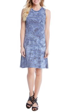 Karen Kane Tie-Dye Stripe A-Line Dress- Just the kind of easy, slip-on-and-go dress you want for your travels is cut from a stretch knit with a playful combination of nautical stripes and tie-dye print.