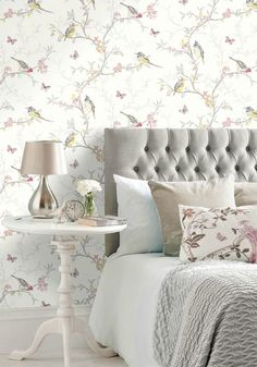 Let this shabby chic decor inspire a total bedroom makeover. Your flat will never feel the same again with this nature-inspired wallpaper.