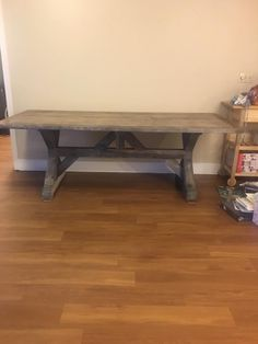 """My x trestle dining table project I made for my daughter. 78"""" long, 38"""" wide, 30"""" tall. Top made from reclaimed fir 2x planks, base horizontal pieces and posts from 4x fir boards ripped to size, x cross pieces from cedar 4x4 posts. Cedar and new wood and recut surfaces were grayed with steel wool and apple cider vinegar solution. Top planks did not need aging already had a weathered patina. Joined top planks side by side with metal strips screwed to underside. Top finish was with liming wax."""