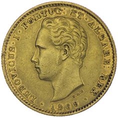 Dom Luis I. 1861 - 1889 5.000 Reis 1869 Gold  Portugal