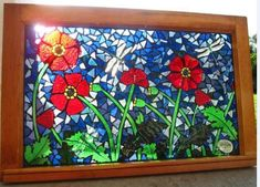 Poppies dragonflies mosaic by reflectionsshattered