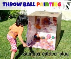Art Activity: Throw Ball Painting! Your little one can make a masterpiece while practicing their fastball. Outdoor Fun!