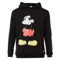 Black Mickey Mouse Print Classic Fit Hoodie ($75) ❤ liked on Polyvore featuring tops, hoodies, print hoodies, sweatshirt hoodies, mickey mouse top, hoodie top and hooded pullover