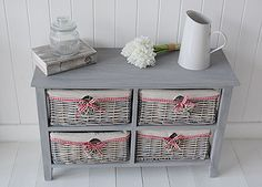St Ives grey wooden storage furniture with four grey willow basket drawers. Cottage Furniture, Country Furniture, Country Decor, Bedroom Furniture, Basket Willow, Basket Drawers, White Cottage, St Ives, Cottage Homes