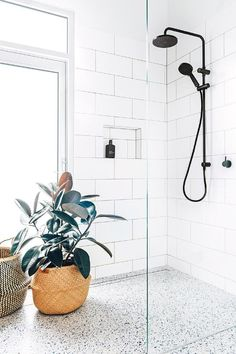 Terrazzo: The trend that isn't going away. Meet the minimalist pattern we are mad about this spring. With its subtle pastel tones and infinite variations, Terrazzo is the perfect way to introduce… Bathroom Renos, Laundry In Bathroom, Bathroom Flooring, Bathroom Renovations, Remodel Bathroom, Bathroom Bin, Bathroom Showers, Mosaic Bathroom, Bathroom Makeovers
