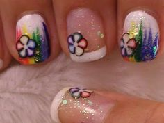 Square Rainbow flower nails with white tips