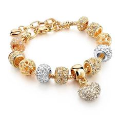 LongWay Luxury Crystal Heart Charm Bracelets & Bangles Gold Color Bracelets For Women Femme Jewellery Pulseras Mujer Bracelets Diy, Gold Plated Bracelets, Colorful Bracelets, Crystal Bracelets, Gold Bangles, Charm Bracelets, Crystal Beads, Glass Beads, Wedding Bracelets