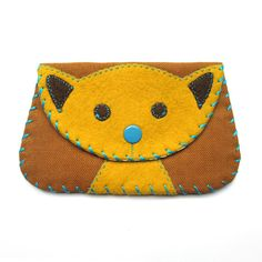 Cat Snap Wallet Purse in Yellow and Brown by bubbledog on Etsy, $20.00