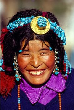 love how Tibetan women accessorize themselves