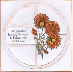"Card by Veronica Pell using Chocolate Baroque stamps ""Pretty Poppies"". From Chocolate Baroque FB Group Page. Get Well Cards, Various Artists, Baroque, Poppies, Vintage World Maps, Healing, Challenges, Chocolate, Stamps"