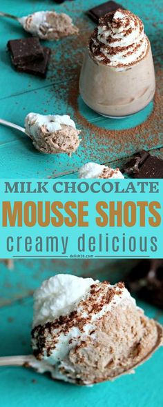 Energy Shots, Chocolate Flavors, Mousse, Delish, Milk, Group, Breakfast, Sweet, Recipes