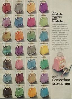 """Our wardrobe matches your wardrobe"" Max Factor Nail Confections ad, 1973"