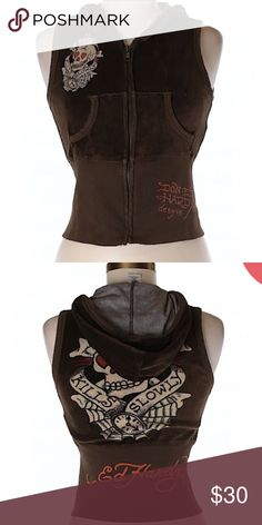 "Ed Hardy Zip Up Hoodie Sz XS V-Neckline Brown Graphic print Measurements 32"" Chest, 20"" Length Materials 100% Cotton Ed Hardy Jackets & Coats Vests"