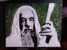 Gandalf glitter art 9x12 by TigerGalindo on Etsy, $35.00