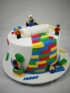 Lego cake that looks like its been peeled open