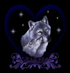 louve avec son louveteau dans un coeur avec étoiles scintillantes #loups