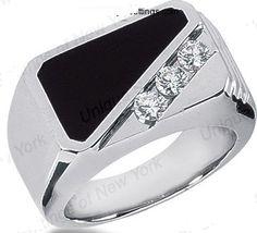 Black Onix Diamond Men's Mafia Boss Ring JEWELFORME BLUE