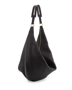 Sling 15 Grained Leather Hobo Bag, Black