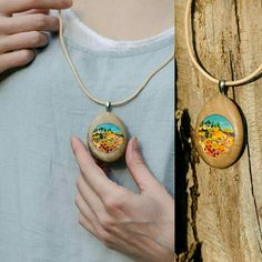 My lovely Tuscany! Polymer clay pendant (based on Richard Leblanc) Polymer Clay Embroidery, Washer Necklace, Pendant Necklace, Polymer Clay Pendant, Embroidery Applique, How To Make, Jewelry, Tuscany, Workshop