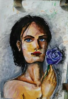 Amazing acrylic painting portrait purple Rose beautiful lady girl by 12 years old artist