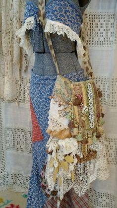 Large Handmade Gypsy Cross Body Bag Tote Vintage Lace & Fabric Boho Purse tmyers