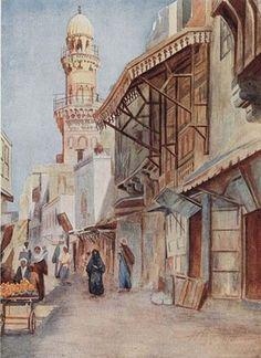 A street in Cairo & Mosque of Sultan Baibars al-Jashnakir 1907 By Walter Spencer Stanhope Tyrwhitt - British Old Egypt, Cairo Egypt, Ancient Art, Ancient Egypt, Kandinsky, Pakistan Art, Arabian Art, Watercolor Architecture, Islamic Paintings