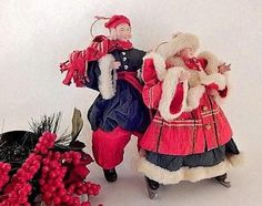 Ice Skating Couple Christmas Tree Ornaments VTG Silvestri Handcrafted Rice Paper #OldWorldVillage