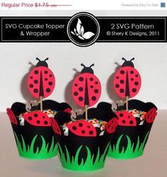 60 off Easter Sale SVG Ladybug Cupcake Topper and by SheryKDesigns, $0.70