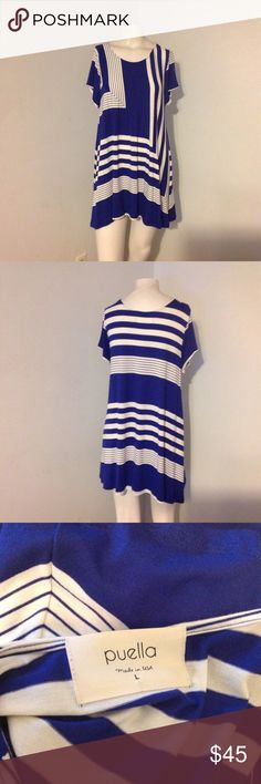 """Anthro Puella Blue White Pattern Swing Top Dress L Cute tunic swing top/ dress (depends on how tall you are) by Puella from Anthropologie. Made of rayon/spandex in size Large. Great condition! Length is 32"""" Anthropologie Dresses"""