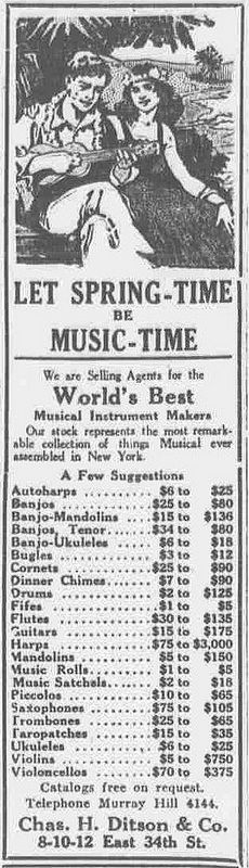 """Let spring-time be music-time. Chas H. Ditson & Co.""  Spring Time Music Time Ukulele The evening world., April 02, 1920, Final Edition, Page 8, Image 8 http://chroniclingamerica.loc.gov/lccn/sn83030193/1920-04-02/ed-1/seq-8/"