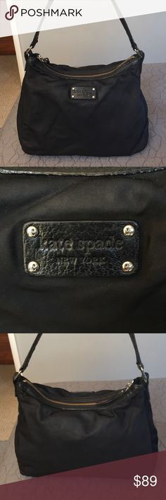 kate spade Leather and Nylon Satchel Beautiful kate spade leather and nylon satchel/shoulder bag.  This beauty goes with everything and is in good pre-loved condition,  There are no issues on the outside but a few stains on the lining inside. kate spade Bags Satchels