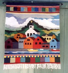 HaNDWoVEN WoOL TaPESTRY Woven Wall Hanging MaRITiMe CoLour Fishing Village Harbour Boats Prince Edward Island HaND WoVeN NaUTiCal FoLk ArT on Etsy, €2.148,44