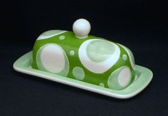 Butter Dish.Solid Green, Light Green, White Designed Knobbed Butter Dish. Green. Light Green. White. Circle. Handmade by Sara Hunter Designs