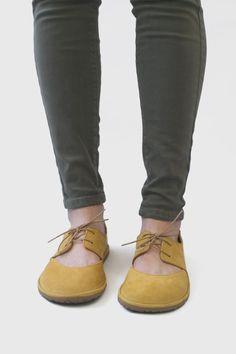 Image of Derby Ballet flats in Yellow Nubuck Birkenstock Boston Clog, Cotton Lace, Ballet Flats, Derby, Clogs, Footwear, Yellow, Heels, Leather