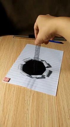 3d Art Drawing, Art Drawings Sketches Simple, Pencil Art Drawings, Easy Drawings, Illusion Drawings, Illusion Art, Instruções Origami, Art Optical, Art Drawings Beautiful
