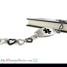 Black and silver steel women's medical bracelet is unique and durable. This bracelet is designed with cute fashionable steel light weight hearts. We engrave our women's medical alert bracelet with a bold BLACK font that is easy to see and read to increase your safety and allow doctors to quickly read your information. For more details Click to image.