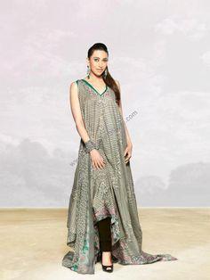 $192.05 Green Long Cotton Lawn Dress / Suits 14826