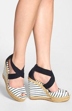 This nautical wedge sandal would look gorgeous with a red dress!