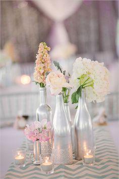 silver wedding centerpiece